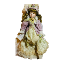 Vintage Porcelain Doll Cloth Body White Dress  Brunette Curly Hair - $28.22