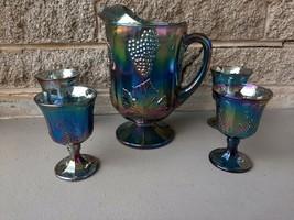 Vintage 5 Piece Indiana Carnival Glass Blue Harvest Grape Pitcher & 4 Goblets - $84.95