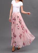 Women Pink FLORAL Chiffon Long Skirt A-line Flower Long Chiffon Skirt Summer  image 2