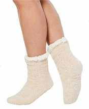 Charter Club Womens Chenille Slipper Socks with Grippers Size L/XL Ivory... - $9.49