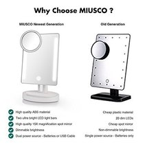 Miusco Lighted Makeup Mirror with 15X Magnifying Pocket Rectangle USB C3081 - $30.43