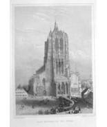 GERMANY Ulm Cathedral - 1860 Original Engraving Print - $33.75