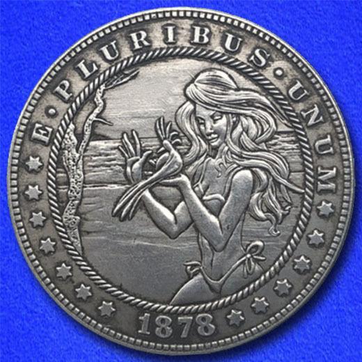Beach girl with bird hobo nickel on morgan dollar coin obverse