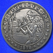 "Beach Girl with Bird ""Hobo Nickel"" on Morgan Dollar Coin ** - $4.79"