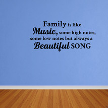 Wall Decal Family Is Like Music Vinyl Lettering Vinyl Sticker Quote DP490 - $11.29+