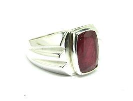 925 Sterling Silver Natural A+ Quality Garnet Gemstone Handmade Men's Ring image 4