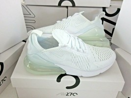 Nike Mens Air Max 270 Triple White Running Training Shoes Size 10.5 AH80... - $103.94
