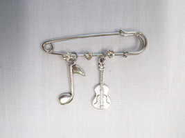 "2"" PIN BROOCH w 3 CRYSTALS w MUSIC NOTE & CLASSICAL GUITAR DANGLING ALLO... - $5.99"