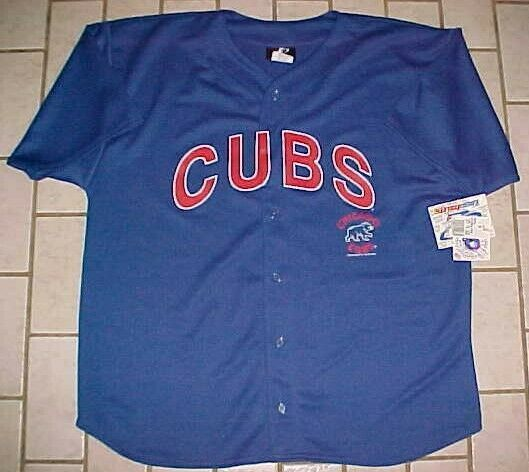 Primary image for Chicago Cubs Team Logo MLB NL Logo Athletic Men 2001 Blue Red Jersey XL New NWT