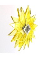 BRIGHT YELLOW CLEAR RECYCLED GLASS MANDALA HANGING STAR MOBILE MIRRORED ... - $25.22