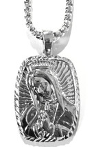 "Hip Hop Silver Platinum Praying Mary Jesus Necklace with 36"" Deluxe Box ... - $12.19"