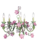 CHIC SHABBY CHANDELIER  WITH  GREEN AND PINK  PASTEL FLOWER ACCENT - $499.99