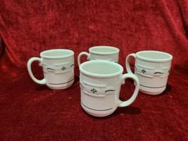 "Longaberger Pottery Woven Traditions Heritage Green Set of 4 Mugs 4"" 12 oz - $38.61"