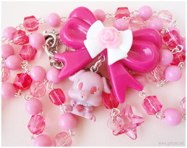 Jewel Pet Riru Necklace, Beaded Pink and Fuschia Chain with Bow Charm an... - $31.00