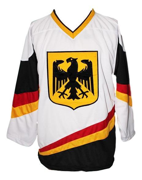 Custom Name # Team Germany Hockey Jersey New Sewn White Scheibler #11 Any Size