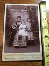 Cabinet Card Mom & 3 Kids Long Hair Girl & 2 Bros One in Dress 1860-80! - $10.00