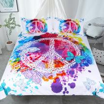 3 Pc Watercolor Butterfly W/ Peace Sign Bedding Set - $54.99+