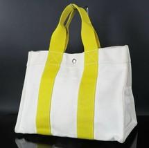 Auth HERMES Fourre Tout Bora Bora Off White and Yellow Canvas Tote Bag #22987 - $219.00