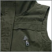Army Green Cotton Denim Zip Up With Adjustable Drawstring Waist Vest Jacket   image 4