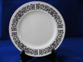 4 Ekco Porcelain Corsair Blk Scrolls Flower Bread Plates - $13.97