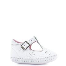 Girl's Rilo white t-strap leather baby crib shoe - $31.18+