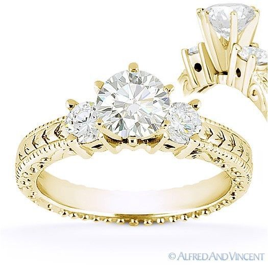Primary image for Round Cut Moissanite 14k Yellow Gold 3 Three-Stone Antique Style Engagement Ring