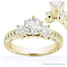 Round Cut Moissanite 14k Yellow Gold 3 Three-Stone Antique Style Engagem... - £497.52 GBP+