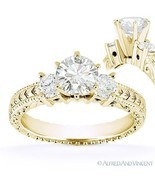 Round Cut Moissanite 14k Yellow Gold 3 Three-Stone Antique Style Engagem... - $643.49+