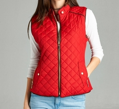 Red Quilted Vest, Quilted Puffer Vest, Quilted Vest with Suede Piping, Womens