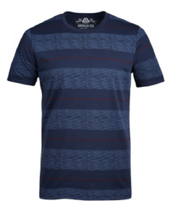 American Rag Men's Heathered Striped T-Shirt, Basic Navy, Size S