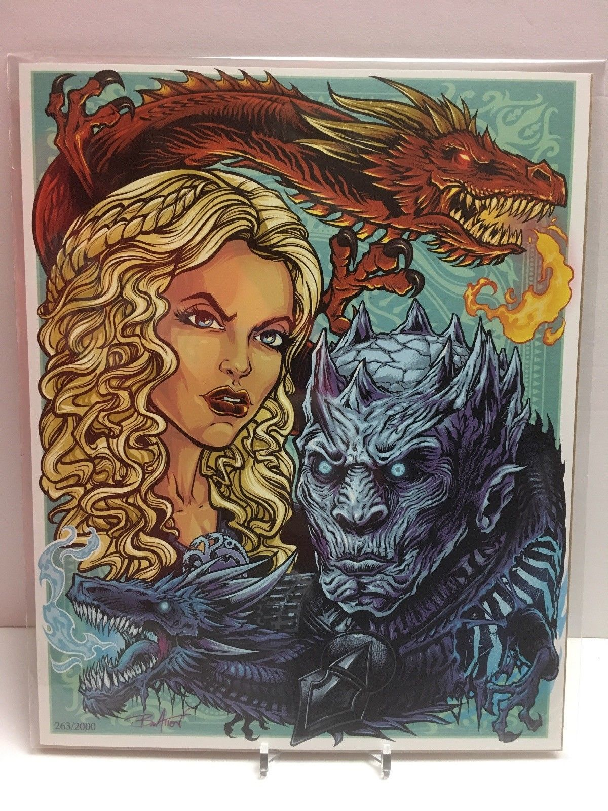 Primary image for Game of Thrones Fire & Ice Fan 8x10 Bam Box Exclusive Art Print by Brian Allen