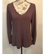 HOLLISTER MUST HAVE COLLECTION Women's V Neck Long Sleeve Striped Top Si... - $1.49