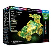 Laser Pegs Farm Tractor 6-in-1 Building Set; The First Lighted Construct... - $23.76