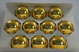 "Vintage Holly Glass Ornaments Gold 2 5/8"" Set of 10 USA Made  - $14.50"