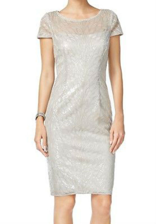 Adrianna Papell Silver Women Size 6 Sequined Illusion Sheath Dress