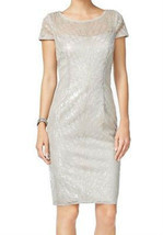 Adrianna Papell Silver Women Size 6 Sequined Illusion Sheath Dress - €34,31 EUR