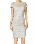 Adrianna Papell Silver Women Size 6 Sequined Illusion Sheath Dress - €35,59 EUR