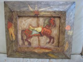 RUDOLF PATER OIL PAINTING CHILDREN MERRY-GO-ROUND HORSE CROATIAN ZAGREB ... - $550.00