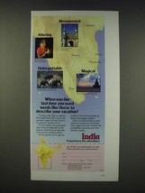 1990 India Tourism Ad - When was the last time you used words like these - $14.99