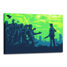 Original Oil Painting Print On Canvas Deco Wall Art Zombie Frame - $12.86+