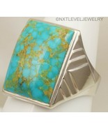 HEAVY Antique RARE Kingman Birdseye Water Web Turquoise 10k Solid Gold M... - $757.35