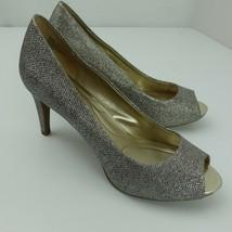 Bandolino Rainaa Gold Sparkle Open Toe High Heels Women's Size 9.5M - $19.79