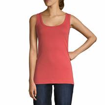 St. John's Bay Women's Scoop Neck Tank Top Size Medium Cranberry 100% Cotton  - $11.87