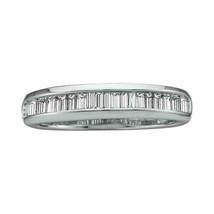 14kt White Gold Womens Baguette Diamond Wedding Band 1/2 Cttw - $445.30