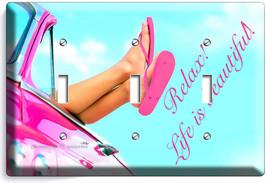 Pink Car Sexy Legs Feet Flip Flops Beach 3 Gang Light Switch Plates House Decor - $16.19