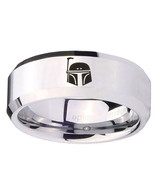 Star Wars Boba Fett Sci Fi Science 8mm Beveled Edges Tungsten Band - $39.99