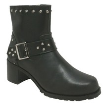 "WOMEN'S 8"" HEELED BUCKLE STYLED LEATHER MOTORCYCLE BIKER BOOT SIZE 9.0M-... - $111.95"