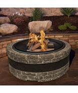 Sun Joe Wood Firepit Fire Joe Faux Stone 35-Inch Patio Deck Fire Pit Cha... - $224.95