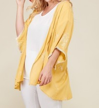 Plus Size Embroidered Kimono, Plus Size Lightweight Cardigans, Womens, Yellow