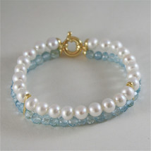 18K YELLOW GOLD BRACELET WITH 2 STRANDS PEARLS AND AQUAMARINE 7 IN MADE IN ITALY image 2